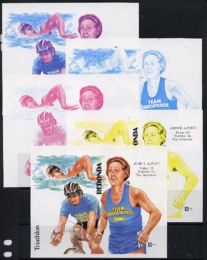 Antigua - Redonda 1987 Capex $5 m/sheet (unissued) showing Triathlete John duPont imperf set of 5 progressive proofs comprising two individual colours, two 2-colour composites plus all 4 colours (minor wrinkles but scarce Ex Format) unmounted mint