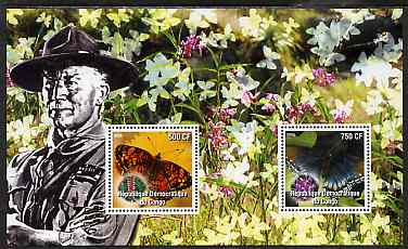 Congo 2004 Butterflies #1 perf sheetlet containing 2 values with Baden Powell in background, unmounted mint