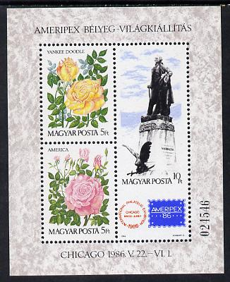 Hungary 1986 Ameripex Stamp Exhibition m/sheet (Roses & Statue of George Washington) unmounted mint SG MS 3697