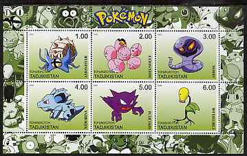 Tadjikistan 2000 Pokemon #6 perf sheetlet containing 6 values unmounted mint