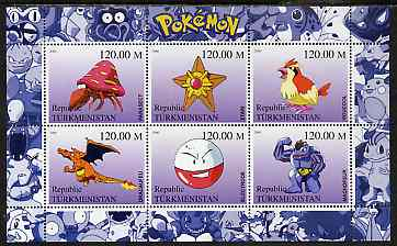 Turkmenistan 2000 Pokemon #5 perf sheetlet containing 6 values unmounted mint , stamps on pokemon, stamps on children, stamps on cartoons, stamps on films, stamps on cinema