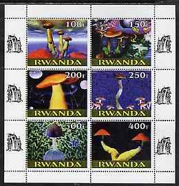 Rwanda 1999 Fungi perf sheetlet containing 6 values unmounted mint