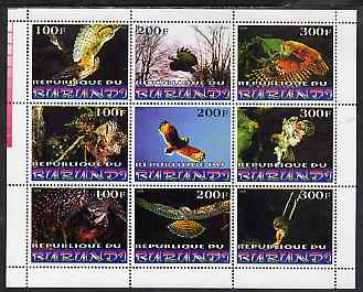 Burundi 1999 Birds of Prey perf sheetlet containing 9 values unmounted mint , stamps on birds, stamps on birds of prey, stamps on owls