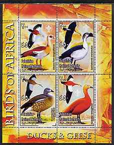 Palestine (PNA) 2005 Birds of Africa - Ducks & Geese perf sheetlet containing 4 values each with Scout Logo unmounted mint