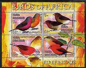 Palestine (PNA) 2005 Birds of Africa - Firefinches perf sheetlet containing 4 values each with Scout Logo unmounted mint