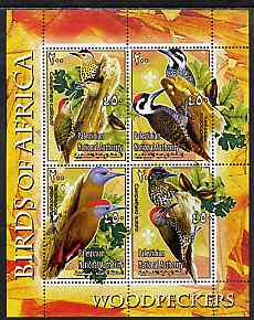 Palestine (PNA) 2005 Birds of Africa - Woodpeckers perf sheetlet containing 4 values each with Scout Logo unmounted mint