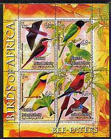 Palestine (PNA) 2005 Birds of Africa - Bee Eaters perf sheetlet containing 4 values each with Scout Logo unmounted mint