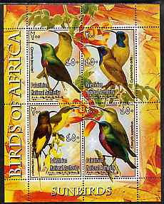 Palestine (PNA) 2005 Birds of Africa - Sunbirds perf sheetlet containing 4 values each with Scout Logo unmounted mint. Note this item is privately produced and is offered purely on its thematic appeal, stamps on birds, stamps on scouts