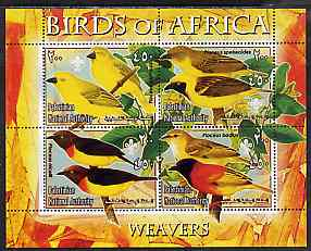 Palestine (PNA) 2005 Birds of Africa - Weavers perf sheetlet containing 4 values each with Scout Logo unmounted mint