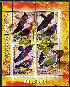 Palestine (PNA) 2005 Birds of Africa - Pigeons perf sheetlet containing 4 values each with Scout Logo unmounted mint