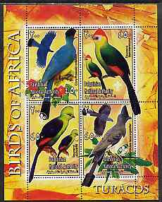 Palestine (PNA) 2005 Birds of Africa - Turacos perf sheetlet containing 4 values each with Scout Logo unmounted mint. Note this item is privately produced and is offered purely on its thematic appeal