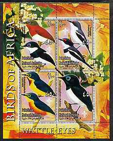 Palestine (PNA) 2005 Birds of Africa - Wattle Eyes perf sheetlet containing 4 values each with Scout Logo unmounted mint