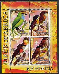 Palestine (PNA) 2005 Birds of Africa - Broad Bills perf sheetlet containing 4 values each with Scout Logo unmounted mint