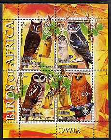 Palestine (PNA) 2005 Birds of Africa - Owls perf sheetlet containing 4 values each with Scout Logo unmounted mint