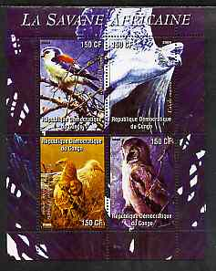 Congo 2004 Birds - La Savane Africaine perf sheetlet containing 4 values unmounted mint
