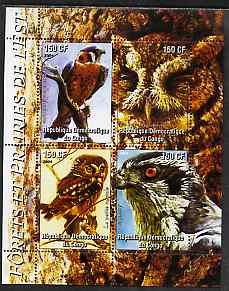 Congo 2004 Birds - Forets et Prairies de L'Est perf sheetlet containing 4 values unmounted mint , stamps on birds, stamps on birds of prey, stamps on owls