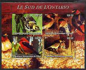 Congo 2004 Birds - Le Sud de L'Ontario perf sheetlet containing 4 values unmounted mint