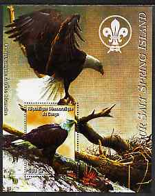 Congo 2004 Birds - Sur Salt Spring Island perf s/sheet with Scout Logo in background unmounted mint