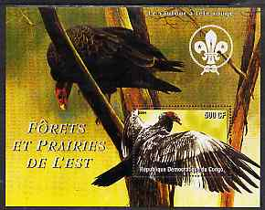 Congo 2004 Birds - Forets et Prairies de L'Est #2 (Vulture) perf s/sheet with Scout Logo in background unmounted mint