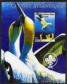Congo 2004 Birds - La Cote Atlantique perf s/sheet with Scout Logo in background unmounted mint , stamps on birds, stamps on gannets, stamps on scouts