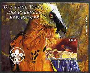 Congo 2004 Birds - Dans Une Valle des Pyrenees Espagnoles perf s/sheet with Scout Logo in background unmounted mint