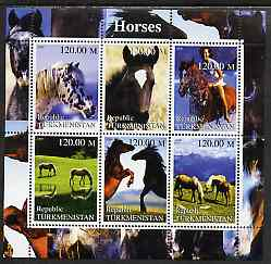 Turkmenistan 2000 Horses perf sheetlet containing 6 values unmounted mint