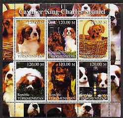 Turkmenistan 2000 Cavalier King Charles Spaniel perf sheetlet containing 6 values unmounted mint