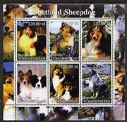 Turkmenistan 2000 Shetland Sheepdog perf sheetlet containing 6 values unmounted mint
