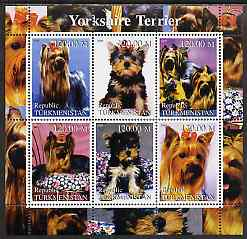 Turkmenistan 2000 Yorkshire Terrier perf sheetlet containing 6 values unmounted mint