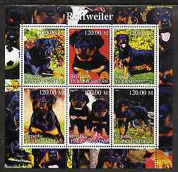 Turkmenistan 2000 Rottweiler perf sheetlet containing 6 values unmounted mint