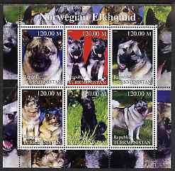 Turkmenistan 2000 Norwegian Elkhound perf sheetlet containing 6 values unmounted mint