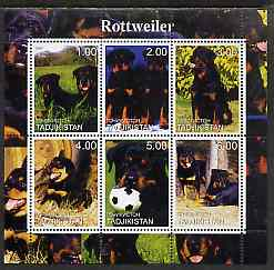 Tadjikistan 2000 Rottweiler perf sheetlet containing 6 values unmounted mint