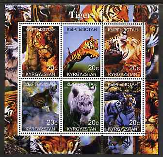 Kyrgyzstan 2000 Tigers perf sheetlet containing 6 values unmounted mint
