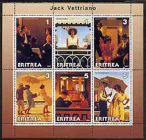 Eritrea 2001 Art of Jack Vettriano #1 perf sheetlet containing 6 values unmounted mint