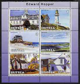 Eritrea 2001 Art of Edward Hopper #1 perf sheetlet containing 6 values unmounted mint