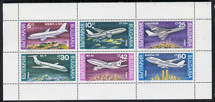 Bulgaria 1990 Airplanes sheetlet containing set of 6 unmounted mint, SG 3705-10 (Mi 3858-63)