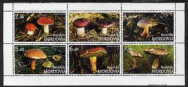 Mordovia Republic 1999 Fungi perf sheetlet containing complete set of 6 values unmounted mint, stamps on fungi