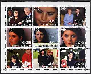Abkhazia 1999 Monica Lewinski perf sheetlet containing 9 values unmounted mint