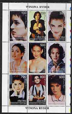 Abkhazia 1999 Winona Ryder perf sheetlet containing 9 values unmounted mint
