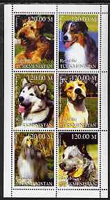 Turkmenistan 1999 Dogs perf sheetlet containing 6 values unmounted mint