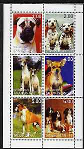 Tadjikistan 1999 Dogs perf sheetlet containing 6 values unmounted mint