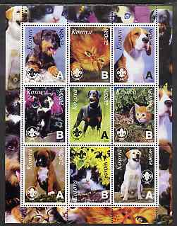 Kosova 2000 Europa - Cats & Dogs perf sheetlet containing set of 9 values each with Scout Logo unmounted mint