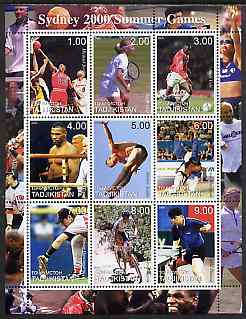 Tadjikistan 2000 Sydney Olympic Games perf sheetlet containing set of 9 values unmounted mint