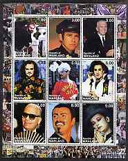 Republic of Manland 2000 Male Personalities perf sheetlet containing 9 values unmounted mint (Elton John, Karl Lagerfeld, Boy George etc)