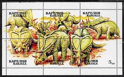 Karjala Republic 1999 Dinosaurs composite perf sheetlet containing 6 values unmounted mint