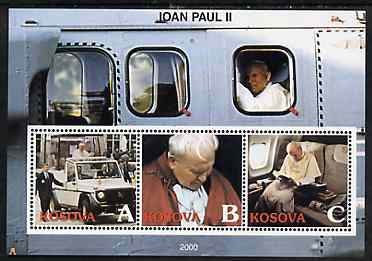 Kosova 2000 Pope John Paul II #2 perf sheetlet containing set of 3 values unmounted mint