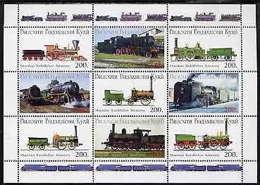 Mountain Badakhshan Autonomy 1997 ? Steam Locos perf sheetlet containing 9 values unmounted mint