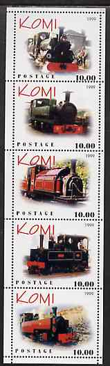 Komi Republic 1999 Steam Locos #4 (Narrow Gauge) perf sheetlet containing complete set of 5 values unmounted mint, stamps on railways