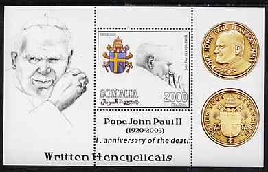 Somalia 2006 Pope John Paul II - First Anniversary of his Death perf s/sheet #2 showing Commemorative coins & Arms - Written 14 Encyclicals, unmounted mint
