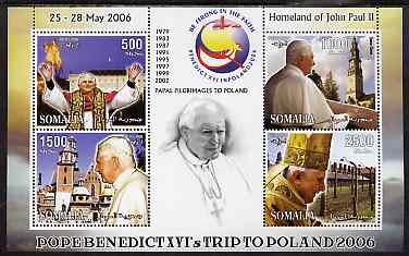 Somalia 2006 Pope Benedict's Trip to Poland perf sheetlet #1 containing 4 values unmounted mint